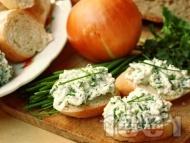 Рецепта Разядка от крема сирене с билки - див чесън, пресен лук и магданоз